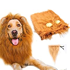 "Gimilife LION MANE WIGSPECIFICATIONSMaterial: Polyester and FurType: Lion Mane for Dog with ears and tailsAdjustable drawstringSize of lion mane wig: The largest neck girth is 23""( Medium) and 31"" (Large) with an adjustable elastic drawstring..."