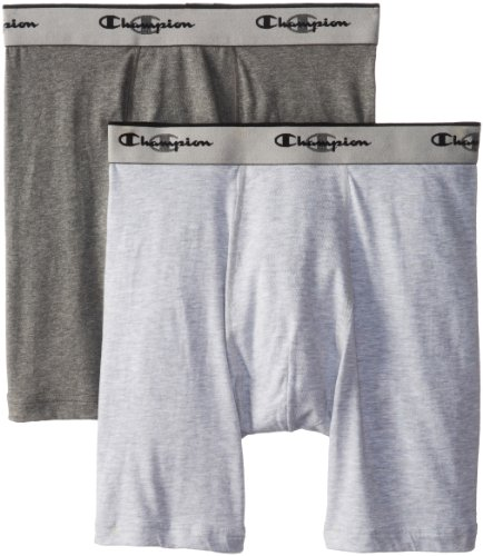 Champion Men's 2-Pack Performance Stretch Long Leg Boxer Brief, Grey, Small