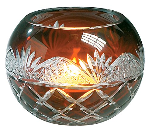 Etched Cut Glass Ruby Red Candleholder for Tealight or Votve Candles - Gift Boxed - 2.5 - Sphere Red Ruby