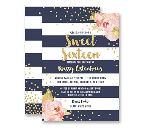 Sweet Sixteen Birthday Invitations Navy Striped Birthday Gold Glitter Look Any Age Personalized Boutique Invites with Envelopes- Krissy -
