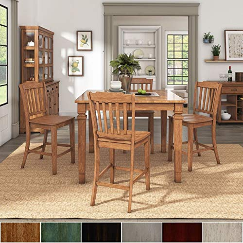Inspire Q Elena Oak Finish Extendable Counter Ight Dining Set with Slat Back Chairs by Classic Grey Antique, Oak Finish, Wood Finish 4 5-Piece Sets (Slat Piece 5 Back)
