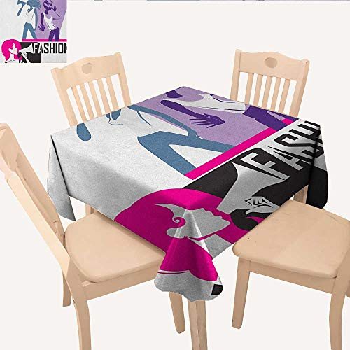 (longbuyer Teen Girls Christmas Tablecloth Composition of Girls Yelling into Megaphone Modern Stylish Fashion Themed Art Non Slip Tablecloth Purple Black W 70