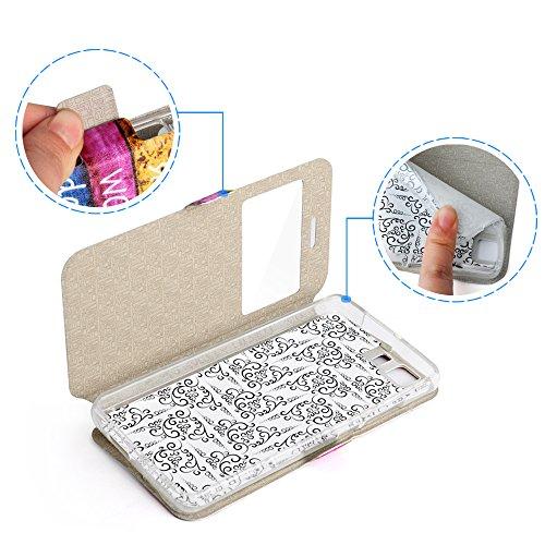 Lusee® PU estuche de cuero sintético para Doogee X5 / X5 Pro / X5S 5.0 Pulgada Cubierta con funda de silicona flor rosa