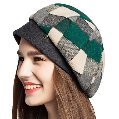 Supergirl Women Hat Wool Beret Hat Cap Fashion Plaid Homburg Green