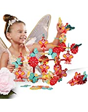 FAO SCHWARZ 60 Piece Multicolored Enchanted Fairy Building Block/Tile Set for Kids, Includes 60 Modular Tiles with Fairy, Butterfly, and Flower Designs