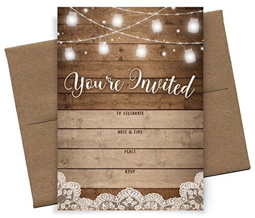 You're Invited! | Rustic Fill-in Party Invitations | 25 Invites and Envelopes | All Occasions - Bridal Shower, Baby Shower, Rehearsal Dinner, Birthday Party, & Anniversary!