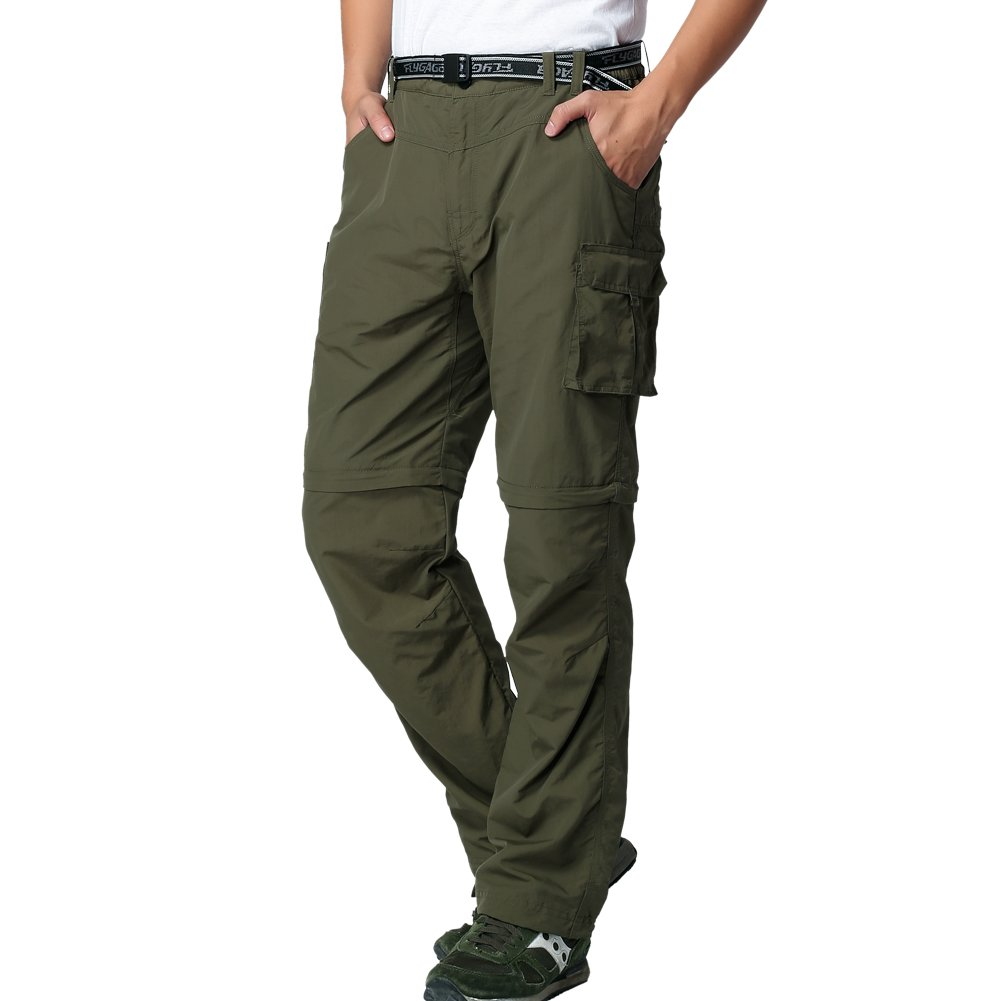 FLYGAGA Men's Outdoor Quick Dry Convertible Lightweight Hiking Fishing Zip Off Cargo Work Pant X-S Army Green by FLYGAGA