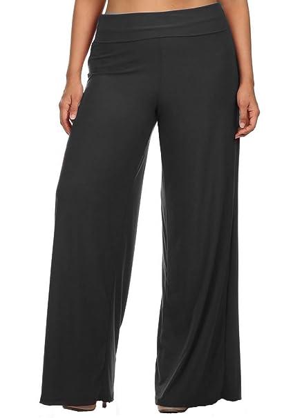 bc438ed7064f9 curvyluv.com Women s Plus Size Palazzo Fold Over Waist Wide Leg Stretch  Lounging Pants at Amazon Women s Clothing store