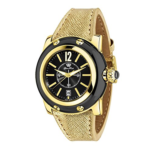 Glam Rock Women's summerTime 40mm Gold-Tone Leather Band Gold Plated Case Swiss Quartz Watch GR40055