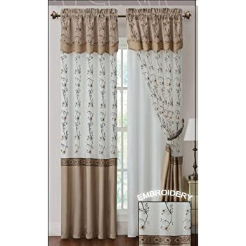 Two Piece Window Curtain Drapery Sheer Panel W Attached Backing And Valance 57x90
