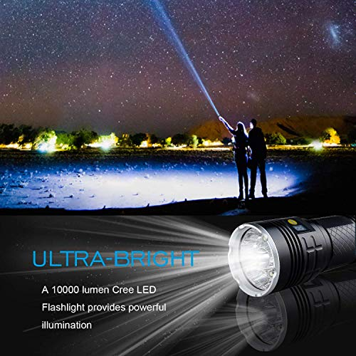 Nrpfell Led Flashlight 10000 Lumens,12xCREE XM-L T6 LED 4 Modes Super Bright Flashlight, Waterproof Handheld Light with Power Display and 4x18650 Rechargeable Lithium Batteries