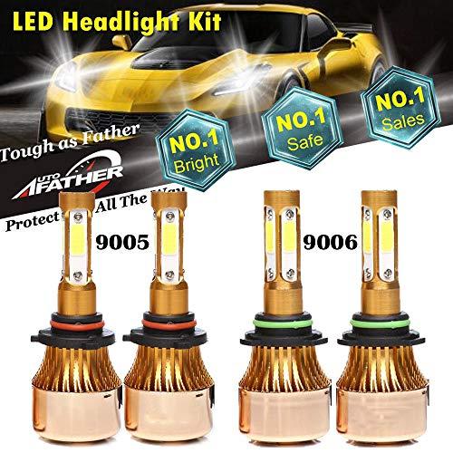 4Pcs 9005 9006 LED Headlight Bulbs Pure White 6000K High/Low Beam Combo Set for Chevrolet Silverado 1500/GMC/Chevy Tahoe/Dodge/Chrysler/Ford - 40000LM - 4 COB Chip