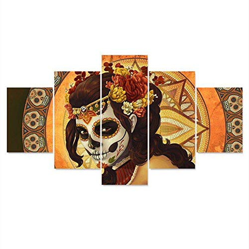 Aimilaly Halloween Skull Women 5D Diamond Painting by Number Kit, 5pcs Painting Sets Full Drill Rhinestone Cross Stitch Picture for Wall Decoration