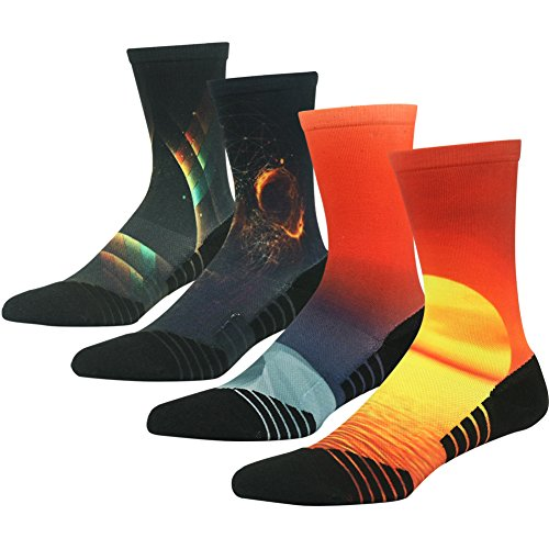 Team Basketball Socks for Men Women, HUSO Performance Quick Wicking Mesh Breathable Crew Bicycle Mid Calf Athletic Socks 4 Pairs (Multicolor, L/XL)