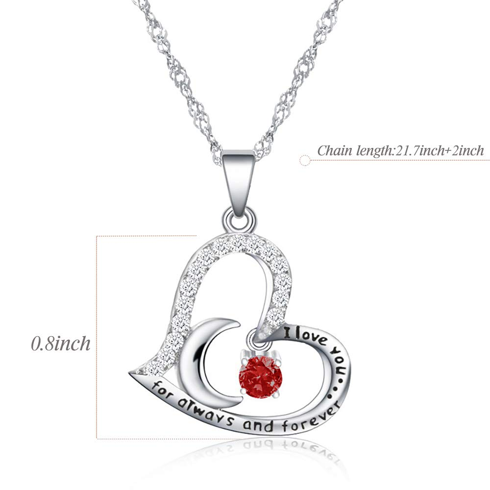 Funny 46th Birthday Gifts for Women 46 Year Old Birthday Gifts for Women 46th Birthday Gifts for Women Stainless Steel Womens Dark Red Zircon Heart Necklace