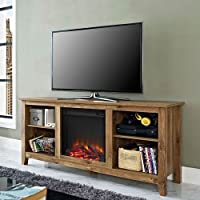 Walker Edison W58FP18BW Fireplace TV Stand , Barnwood , 58