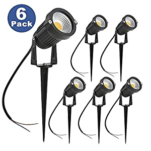 ZUCKEO 5W LED Landscape Spotlight 12V 24V Low Voltage Garden Light COB Outdoor Decorative Light Landscape Lights Low Voltage Lighting for Patio Garden Pathway Warm White (6 pack)