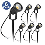 ZUCKEO LED Garden Lights 5W COB Outdoor Spotlight 12V 24V Warm White Decorative Light for Garden Yard Pathway (6 Pack)