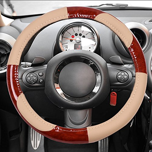 (cciyu Steering Wheel Cover Universal 15 Inch Leather Beige/Brown Wood Grain Design Grip Steering Wheel Cover)
