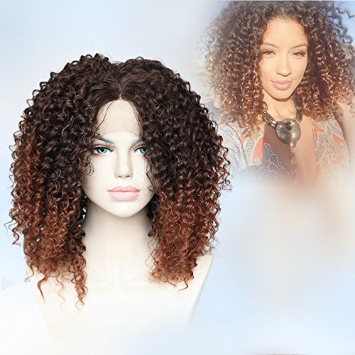 Cbwigs Heat Resistant Fiber Hair Afro Kinky Curly Synthetic Lace Front Wigs Two Tone Ombre Brown Long Fluffy Wig for African American Women 16 inch #2/30