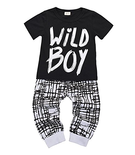 MILWAY Newborn Baby Boys Clothes Wild Boy Letter Printed T-Shirt Tops Checked Pants Outfit Set (Short Sleeve, (Wild Child Clothing)