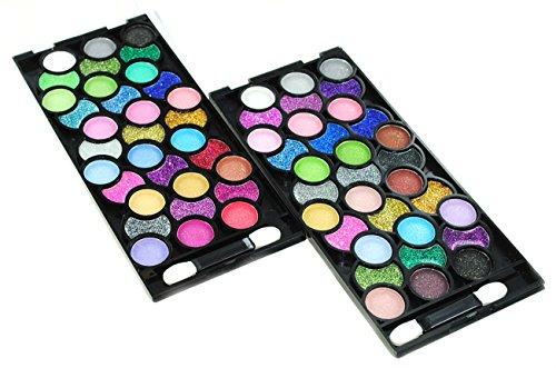 32 Color Design Neon Glitter & Plain Eyeshadow Makeup Kit + Extra 32 Color Eyeshadow Set