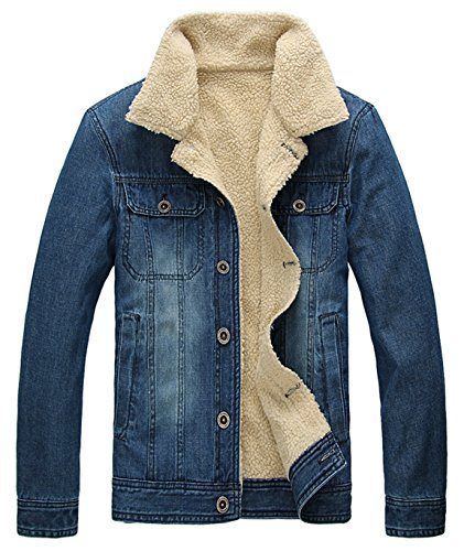 Sherpa Collar (HOWON Men's Plus Cotton Warm Fur Collar Sherpa Lined Denim Jacket Button Down Classy Casual Quilted Jeans Coats Outwear Blue XL)