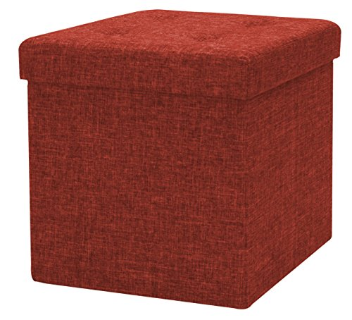 Sorbus Storage Ottoman Faux Linen – Tufted Ottoman Contemporary Folding Bench Chest with Cover – Perfect Toy and Shoe Chest, Pouffe Ottoman, Seat, Foot Rest (Red) Red Cloth Game Chair