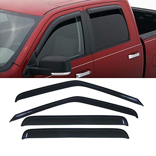 Deebior 4pcs Dark Smoke Tinted Outside Mount Style Sun Rain Guard Vent Shade Window Visors For 2001-2004 Chevrolet S10 Crew Cab Pickup ()