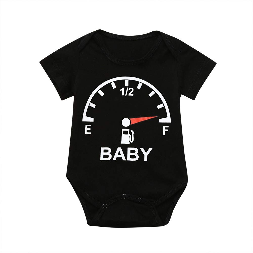 NUWFOR Toddler Baby Short Sleeve Clocks Print Romper Tops Matching Family Clothes(Black,0-3 Months