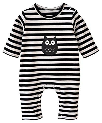 Lovful One Piece Cotton Baby Boys Girls Striped Romper Pajamas+ Hat Set