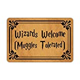 Muikoo Front Door Mat Welcome Mat Wizards Welcome Muggles Tolerated Machine Washable Rubber Non Slip Backing Bathroom Kitchen Decor Area Rug Funny Doormat Indoor Outdoor Rug 23.6'(W) X 15.7'(L)
