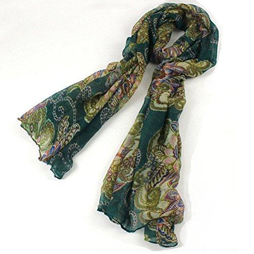 CRAZY Women Girls Retro Soft Scarves Scarf Wrap Shawl-green-B51-1 [Apparel]