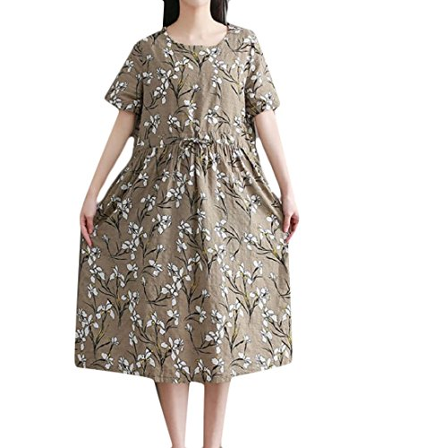 Robe Coolred Taille Lâche Coton Lin Imprimé Floral Cravate Quotidienne Des Femmes Comme Image