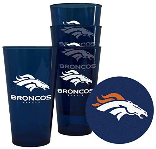 Denver Broncos Plastic Pint Glass Set (Denver Broncos Cups)