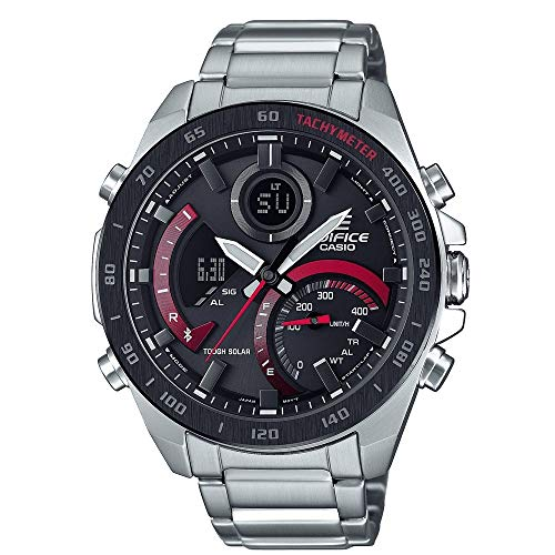 Casio Men's Year-Round Quartz Watch with Stainless Steel Strap, Silver (Model: ECB-900DB-1AER)