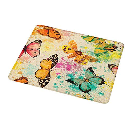 Personalized Custom Gaming Mouse Pad Butterfly,Watercolor Murky Grungy Butterflies with Color Splashes Be Mindful Boho Art Print,Personalized Design Non-Slip Rubber Mouse pad 9.8