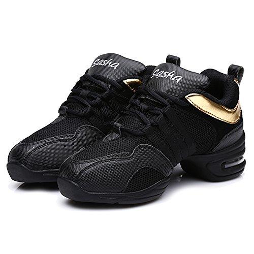 Roymall Män Och Kvinnor Ökar Dans Sneaker / Modern Jazz Ballroom Prestanda Dansgymnastiksportskor, Modell B55 / B56 Svart + Guld-1