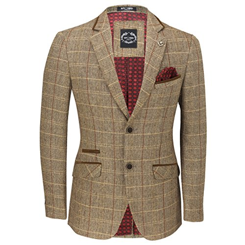 XPOSED Mens Vintage Tweed Herringbone Check Blazer in Grey Tan Smart Jacket Black Velvet Elbow Patch [Light Oak Brown,Chest UK 48 EU 58] (Vintage Blazer Black Jacket Velvet)