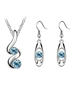 Crystal Pendant Necklace Earring Set Cuekondy Fashion Serpentine Oval Clavicle Chain Jewelry for Women Girls (Blue)