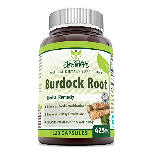 Herbal Secrets Burdock Root 425 Mg Capsules (Non-GMO) - Promotes Blood detoxification * Promotes Healthy Circulation* (120 Count)