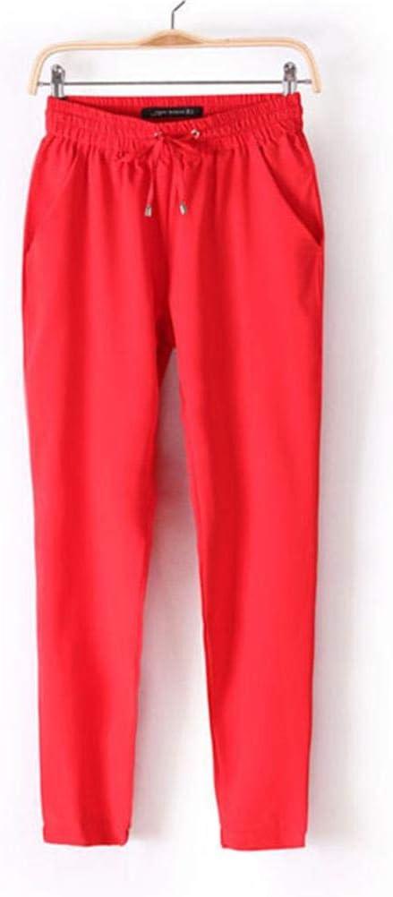L FAIYIWO Women Vintage Chiffon Harem Pants Elastic Trousers FAIYIWO Black Size