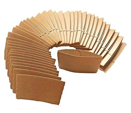 (Essentials Mart Coffee Cup Sleeves 100 pack, Corrugated kraft cardboard sleeves for 10oz 12oz 16oz 20oz)