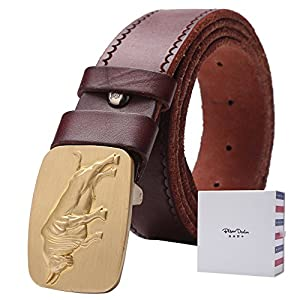 BISON DENIM Men Stylish Automatic Belt Alloy Buckle Leather Waist Strap Belts Buckle Brown 130cm