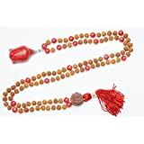 Chakra Coral Beads Necklace Rudraksha Yoga Meditation Japamala with Buddha Pendant