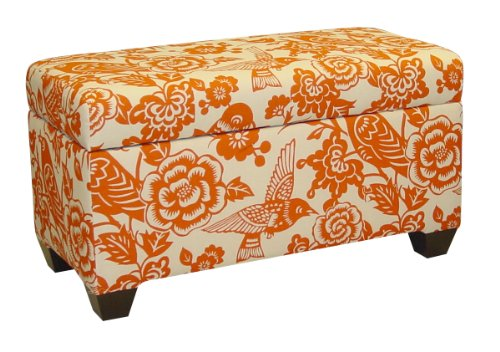 Skyline Leather Bed (Skyline Furniture Walnut Hill Storage Bench in Canary Tangerine Fabric)