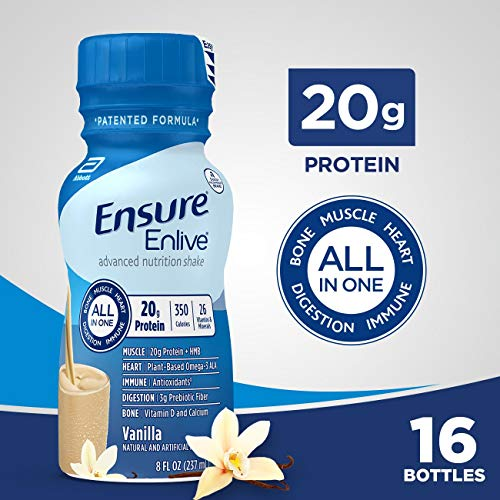 Ensure Enlive Meal Replacement Shake, 20g Protein, 350 Calories, Advanced Nutrition Protein Shake, Vanilla, 8 fl oz, 16 Bottles