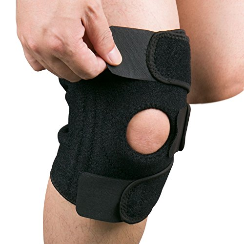 Knee Brace, Gvoo Soft Knee Strap Support Knee Pads with Medical Grade Quality Breathable and Fully Adjustable for Any Sport Protection or Recovery--Average Size Adjustable Soft Pads