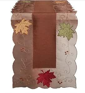 Camino de mesa con hojas de otoño, color marrón, rojo, naranja ...