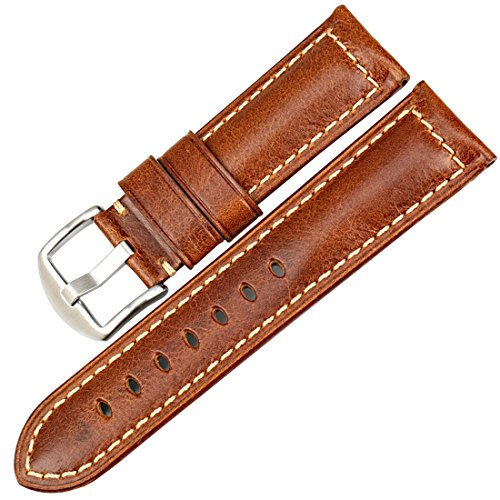 MAIKES Vintage Oil Wax Leather Strap Watch Band 5 Colors Available 20mm 22mm 24mm 26mm Watchband Greasedleather Wristband (Band Width 20mm, Light Brown+Silver Clasp)